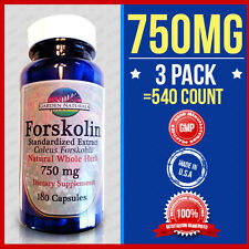 3 Pack Extreme 750MG Forskolin New Extract Coleus 540 Caps Weight Control-Herbs