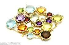 14K Yellow Gold Fancy Cut Multi-Colored Round Shaped Gemstone Necklace 32""