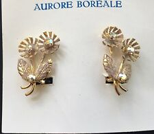 Vintage Earrings - Aurore Boreale Swarovski Crystal Gold Color Clip-on Earrings