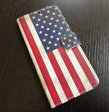 For Samsung Galaxy S8 - Card Wallet Diary Pouch Phone Case Red USA American Flag