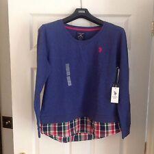 U.S. Polo Assn. Dodger Blue Heather Crew Neck 2-Fer Sweatshirt Plaid Hem, Size L