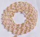 5 Feet Rose Quartz Chalcedony Link Beaded Chain 24k Gold Plated 3.50mm
