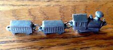 "Vintage Solid Pewter Miniature Steam Train Set Of 3 Cars - 2 3/8"" (Total Length)"