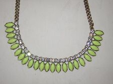 PRE-OWNED J CREW NECKLACE RHINESTONE CRYSTAL AND NEON YELLOW PETALS -