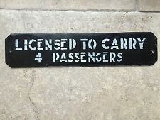 Vintage Original LONDON TAXI HACKNEY CARRIAGE CAB Aluminium SIGN License Plate 4