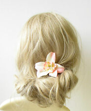 Peach Cream Orchid Flower Hair Clip Rockabilly 1950s Vintage Hawaiian Pin 1266