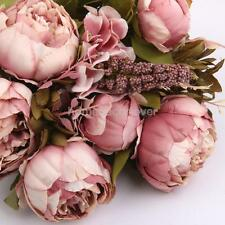 Artificial Dark Pink Peony Silk Flower Bouquet Wedding Party Home Decor UK