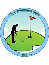 "Personalised Golf / Golfer Silhouette 7.5"" Edible Wafer Paper Cake Topper"