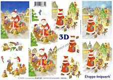 Father Christmas 3D Decoupage Sheet Card Making Paper Crafts CUTTING REQUIRED