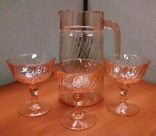 Vintage Pink Swirl Depression Glass Pitcher & 3 Stemmed Drinking Glasses Set
