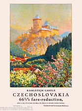 Karlstejn Castle Czechoslovakia Europe Vintage Advertisement Travel Poster