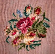 EP 2862 Vintage Burgandy Rose Floral Bouquet Preworked Needlepoint Canvas