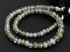 3-5mm. Natural Labradorite Faceted Rondelle Gemstone Beads 8""