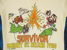 vtg 1980 MOUNT ST. HELENS SURVIVOR CARTOON POLO T-Shirt XXXS volcano thin 80s