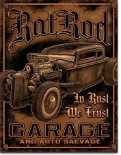 Rat Rod Garage USA Vintage Style Hotrod Metall Deko Schild - In Rust We Trust