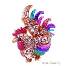 Ladies Beautiful Colorful Crystal Gold Cockerel/Rooster/Chicken/Diamante Brooch