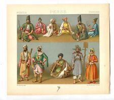 Antique Print Litho PERSIAN MEN'S CLOTHING Smoking 1888 Le Costume Historique