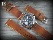 Cinturino in Pelle CUOIO VINTAGE LARGE 24 mm Watch Strap Band Miele bruciato