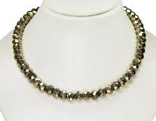 Wunderschöne Halskette ausEdelsteinen Pyrit in facettierter Buttonform