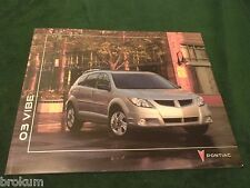 "MINT ORIGINAL 2003 PONTIAC VIBE SALES BROCHURE 10"" X 12"" (BOX 779)"