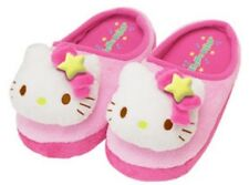 NEW AUTHENTIC SANRIO HELLO KITTY FACE PINK PLUSH SLIPPERS kids size 9-1