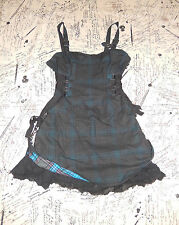 LIP SERVICE RARE BLACKOUT PLAIDS BIKINI KILL TURQUOISE MINI DRESS M 46-438