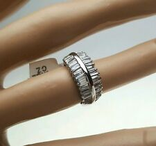 Silver Tone  Rhodium Plated  Cubic Zirconia Band Ring  Size 5 Baguettes Cocktail