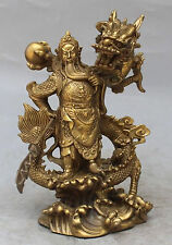 Chinese Fengshui Bronze Guan Gong Yu Warrior God Sword Stand in Dragon Statue NR
