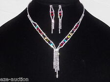 Multicolor Rhinestone Crystal Jeweled Prom Necklace and Earring Set