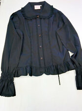 Anna House Gothic Japanese Lolita Fashion Black Lace Cotton Blouse Shirt Large
