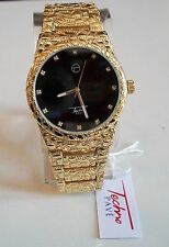 Men's Techno Pave Gold Finish Black Iced Dial Full Nugget Style Fashion Watch