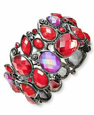 Style&Co Hematite-Tone RED BEADED Stretch Fashion BRACELET