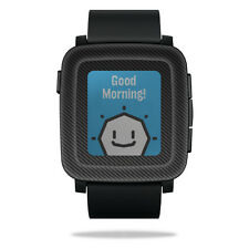 Skin Decal Wrap for Pebble Time Smart Watch cover sticker Carbon Fiber