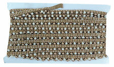 9mtr Lace border trim, stone beaded trm, pearl n gold bead tassle, 1.5cm wide