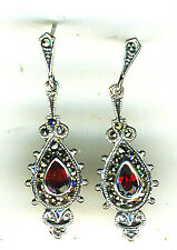 "925 Sterling Silver Garnet & Marcasite Drop / Dangle Earrings  Lgth 1.1/2""  40mm"