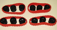 LEGO LOT OF 4 NEW RED TANK TREADS WITH BLACK HUBS CAR VEHICLE PIECES