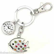 NEW FIRST HAND FISH KEYCHAIN WATCH SILVER PLATED with MULTI COLOR Crystals