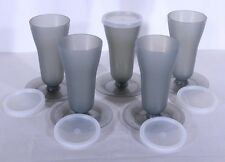 Vtg TUPPERWARE #754 Tall Sundae Parfait Pudding Cups Lot of 5 With Lids Smoky