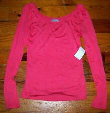 New! Women's Juniors CHARLOTTE RUSSE Solid Pink Long Sleeve U-Neck Shirt Medium