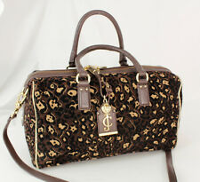 Juicy couture Brown Black Rayon Leather Satchel Shoulder Bag Purse Cross-body