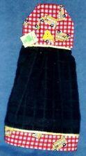 **NEW** Handmade School Bus Red Plaid Black Hanging Kitchen Hand Towel #1218