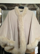 Fox Fur-Trimmed Cashmere Cape Women's Holiday gift Winter Fall wrap poncho shawl