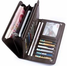 Men's Leather Multi ID Card Holder Zip Wallet Purse Billfold Clutch Checkbook