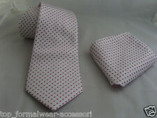 "(01) SILK-White with Burgundy Polka Dots-Necktie & Hanky Set-TIES-3.5""=9cm Width"
