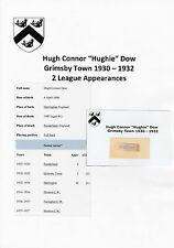 HUGHIE DOW GRIMSBY TOWN 1930-1932 VERY RARE ORIGINAL HAND SIGNED CUTTING