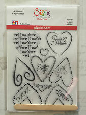 NEW Sizzix Rub Ons - Hearts & Words - 655036 - 2x sheets of White, 2x black