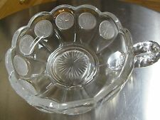 FOSTORIA - Glass Candy/Relish Nappy Bowl w/Frosted Coins. With Handle. Vintage