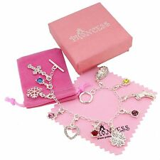 Silver Plated 11 Crystal Charm Bracelet for Kid Teen Girls Women Fashion Jewelry