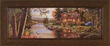 PEACE LIKE A RIVER PANORAMIC by Kim Norlien 18x42 FRAMED PRINT Log Cabin Lake