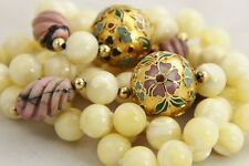 80s CHINESE EXPORT CHAMPLEVE CLOISONNE MOTHER OF PEARL RHODONITE BEAD NECKLACE